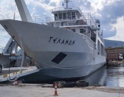 """Λευκάδα: Το επιβατηγό – οχηματαγωγό """"Τελαμών"""" στη θέση της πλωτής γέφυρας για έναν μήνα (ΔΕΙΤΕ ΦΩΤΟ)"""